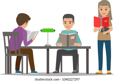 People reading textbooks in library. Man and woman seating at the table and standing with open book in hand isolated flat vector. Enthusiastic readers illustration for educational and hobby concept