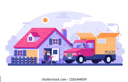 People receiving delivery in front of their house. Delivery truck with opened cardboard box. Standing in cottage doorway father and son getting package from car. Cargo transportation service concept.