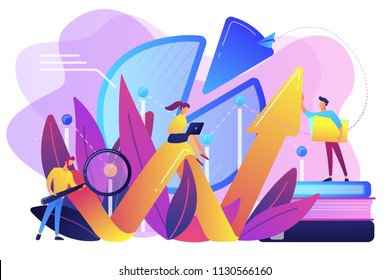People recording analytics data of the IT project identifying business needs and determining solutions to business problems. Business analysis IT concept. Violet palette. Vector illustration