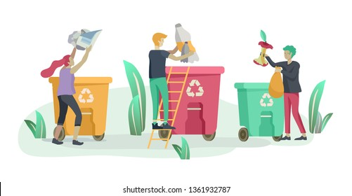 people Recycle Sort organic Garbage in different container for Separation to Reduce Environment Pollution. Man and woman collect garbage. Environmental day vector cartoon illustration