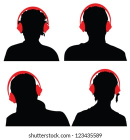 people with red color headphones black silhouette