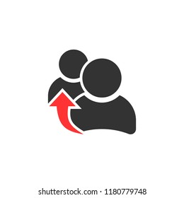 People referral icon in flat style. Business communication vector illustration on white isolated background. Reference teamwork business concept.