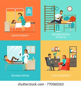 People rehabilitation square concept with massage manual therapy orthopedic exercises and physiotherapy vector illustration