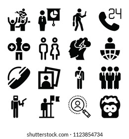 People related set of 16 icons such as search, workers team, welder, support, 24 hours, accident, leader, flag, employee, surprised, brainstorm, analytics, portrait, concert