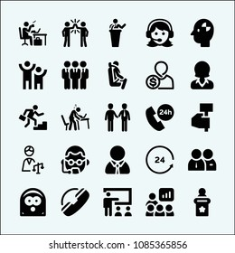 People related set of 25 icons such as woman with headset, people, workers team, human pictos, businessman ascending by stair steps, female worker, 24 hours, telephone, support