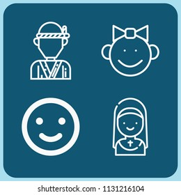 People related set of 4 icons such as baby girl, smile, chef