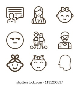 People related set of 9 icons such as head, user, lady, smile, baby, baby girl, slavery