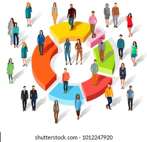 People related to share market. Isometric flat 3D business concept of market share. Business infographic share of the market. Market share business concept. Business infographic pie chart. Flat design