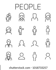 People related vector icon set. Well-crafted sign in thin line style with editable stroke. Vector symbols isolated on a white background. Simple pictograms.