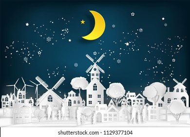 People relax and family in the cityscape with urban countryside with half moon and snow as Merry christmas and winter season,paper art and digital craft style concept. vector illustration.