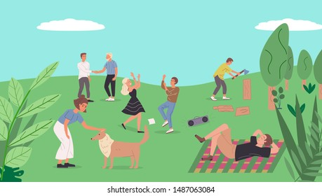 Сollection of people relaxing in nature. Couple dancing. Girl is petting the dog. Guy chooses firewood on the barbecue. Friends spend time together. Young life. Flat cartoon vector illustration