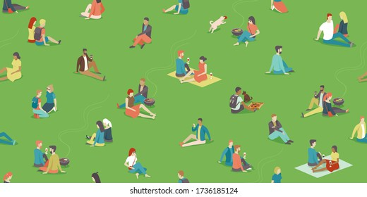 People relaxing on the grass field in the city park. BBQ area. Social distancing during coronavirus COVID-19 quarantine. Flat vector seamless pattern