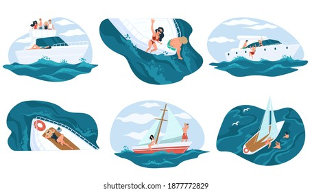 People relaxing on yacht boat in summer holidays or vacations. Character on cruise with friends. Marine adventure of personages leading luxurious lifestyle. Tourists sea walk. Vector in flat style
