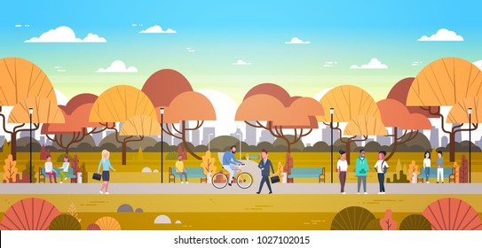 People Relaxing Outdoors In Autumn Urban Park Over City Skyline Background Walking Riding Bicycle And Communicating Flat Vector Illustration