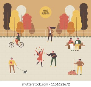 People are relaxing outdoors in the autumn-colored parks. flat design style vector graphic illustration set