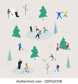 People are relaxing outdoors in the white winter parks,winter season pattern featuring christmas holidays outdoor activities,child making snowman,decorate christmas tree,beautiful vector illustration.