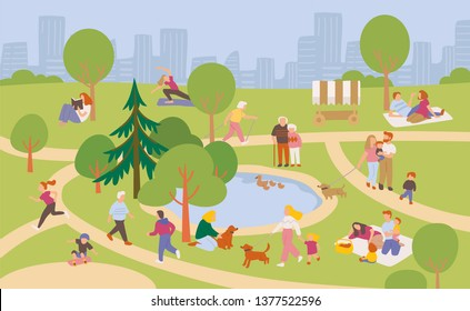 People relaxing in the park. Summer landscape. Healthy lifestyle.