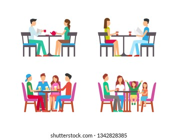 People relaxing in pub drinking beer vector. Restaurant with family, child eating ice cream, father drinking tea Couple with served latte beverage