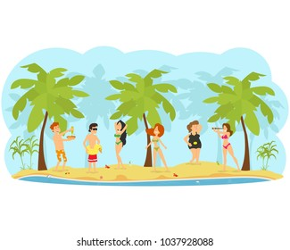 people rest, sunbathe and have fun on the beach. vector illustration