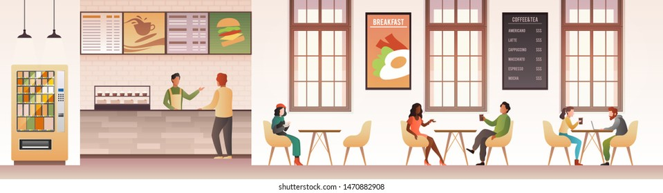 People at restaurant. Guys snacking meal in food court, family eating dinner in cafeteria or buffet interior flat vector design of modern cafe with customer and service man