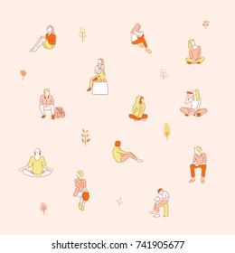 People resting in the par.k hand drawn illustrations. vector doodle design