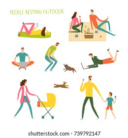 People resting and playing outdoor. Different activities set. Cartoon illustration for your design.