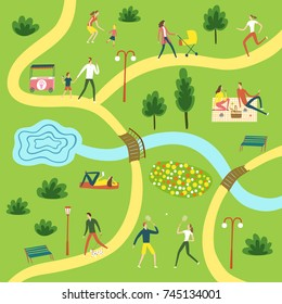 People resting and playing in the park. Different activities set. Including landscape. Cartoon map illustration for your design.