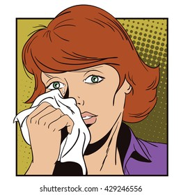 People in retro style pop art and vintage advertising. Crying girl.