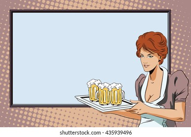 People in retro style pop art and vintage advertising. A waitress carries beer on the background of the poster.