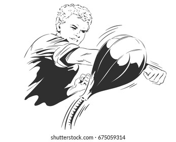 People in retro style pop art and vintage advertising. Young guy boxer. Sports training.
