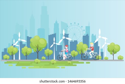 People are ride bicycle in a public park and the snow is falling a bit. The view is so beautiful. The landscape is like cityscape  and the  beautiful view. vector illustator