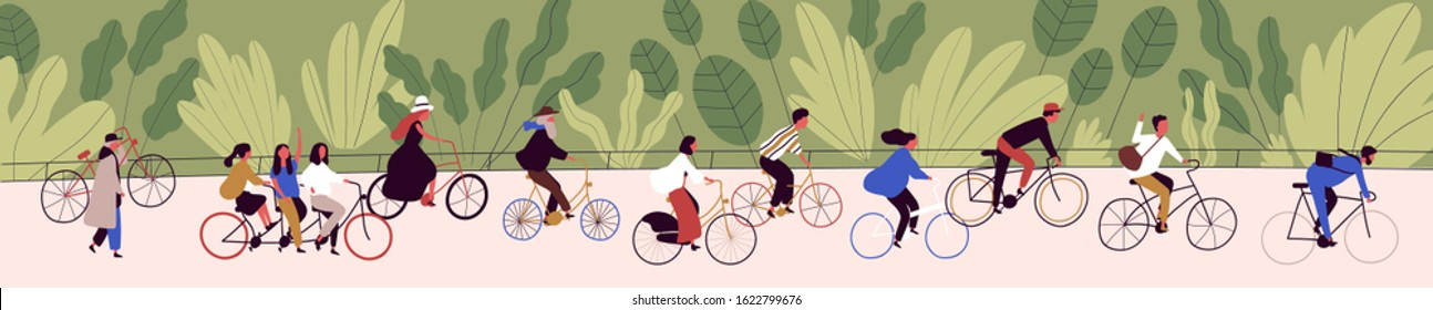 People ride bicycling at bicycle parade vector flat illustration. Active cartoon person cycling on bike path at green nature background. Concept of healthy lifestyle, sports and outdoor recreation.