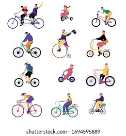 People ride bikes, vector illustration. Characters isolated on white riding different original bicycles, flat style. Travel by bike as eco friendly transport, sport and healthy lifestyle.