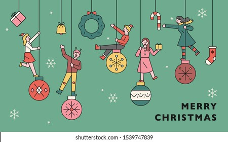 People ride on the Christmas decorations ball. Web promotion banner. flat design style minimal vector illustration.