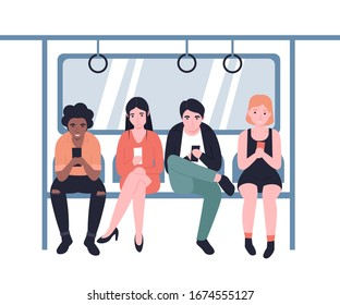 People ride the subway, metro, bus, train. Male and female characters in public transport with mobile. Flat vector modern cartoon design illustration.
