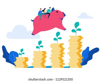 People rides piggy bank jump over money stack and growing a successful financial chart. Concept of investment and increasing financial growth. Cartoon Vector Illustration.