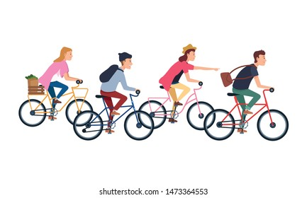 People riding bicycles with backpack and groceries basket ,vector illustration graphic design.