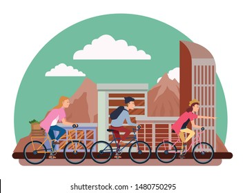 People riding bicycles with backpack and groceries basket in the city urban buildings scenery in the city urban scenery background ,vector illustration graphic design.