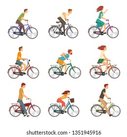People Riding Bicycles Set, Men and Women on Bikes Vector Illustration