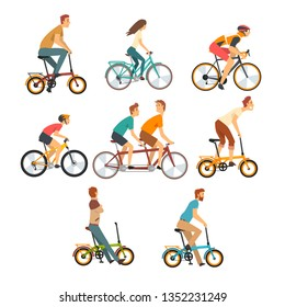 People Riding Bicycles Set, Men and Women on Bikes of Various Types Vector Illustration