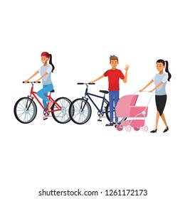 people riding bike