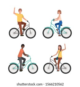 People riding bikes design, Vehicle bicycle cycle lifestyle sport and transportation theme Vector illustration