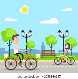 People riding bikes. Vector flat cartoon illustration