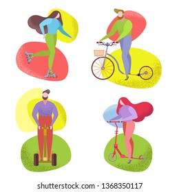 People riding a byke scooter in city park collection. Vector flat image set. Trendy naive style whimsical figure, characters drawing flat, funky, like matisse. Urban fun park summer activity, sport