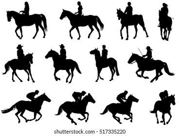 people riding horses silhouettes - vector