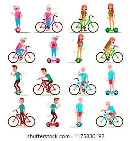 People Riding Hoverboard, Bicycle Vector. City Bike. Outdoor Sport Activity. Gyro Scooter. Activity. Two-Wheel Electric Self-Balancing Scooter. Eco Friendly. Isolated Illustration