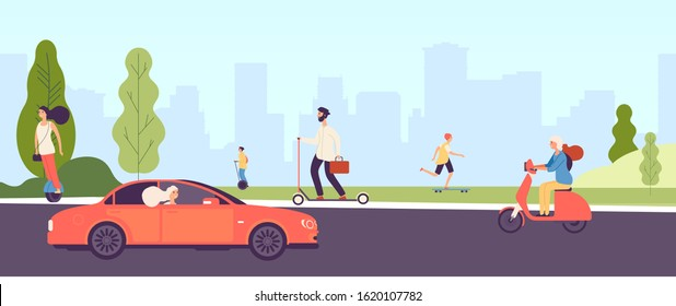 People riding. Man woman with electric vehicles ride motorbike skateboard scooter skate. Happy girl rides car. Vector city park landscape with flat characters