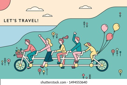 People riding multiplayer bikes together. flat design style minimal vector illustration.