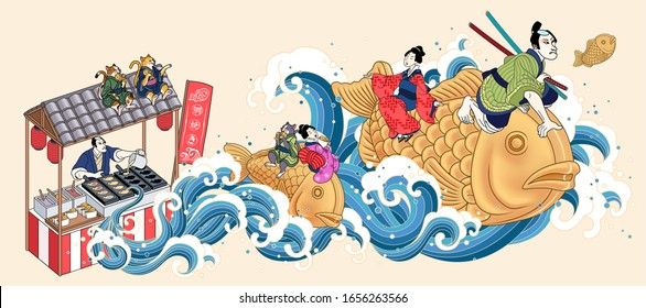 People riding on taiyaki snacks and flying up from street vendor in ukiyo-e style, fish-shaped cake written in Japanese texts on flags