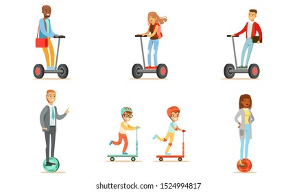 People Riding Self Balancing Scooters with One or Two Wheels, Young Men and Women Using Modern Individual Electric Transport, Cute Boys Riding Kick Scooters Vector Illustration